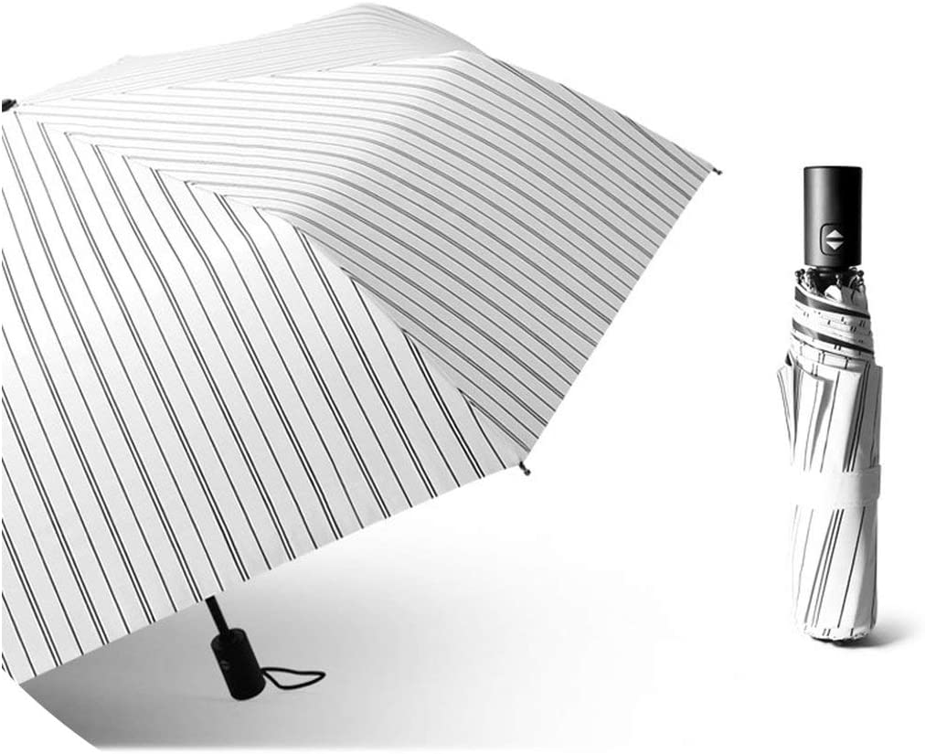 Colorful Full automatic Umbrellas Womens Folding Umbrellas Black Glue Sun Umbrella Sunscreen UV Protection,White