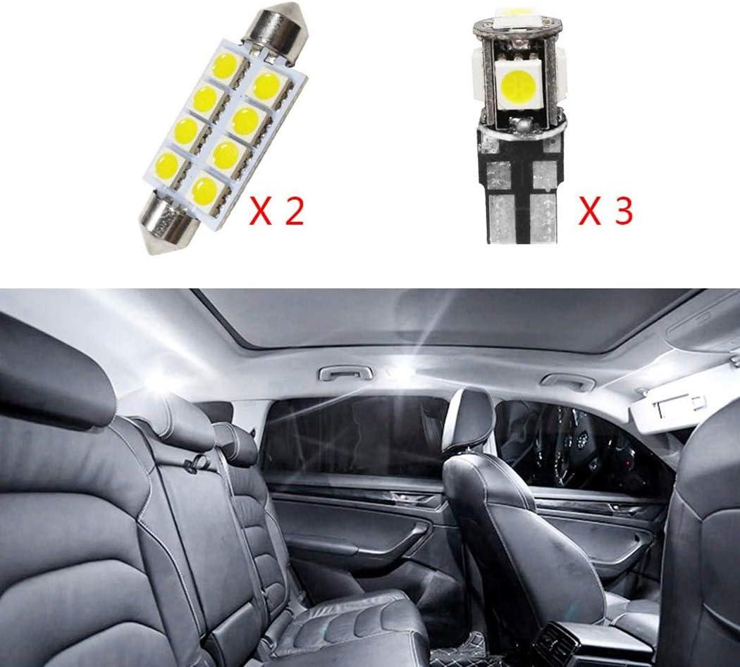 Para Octavia 2015 LED Bombilla Luz Interior de Coche Super brillante Luces lectura coche Dome Bombilla Canbus sin errores 12V Blanco 5 Piezas