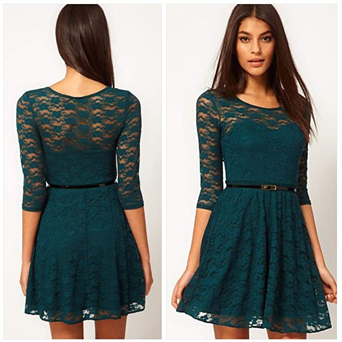 Ccoco Womens Autunm Winter Sheer Slim 3 4 Cocktail Lace Skater Dress ... 2c6d247fa827