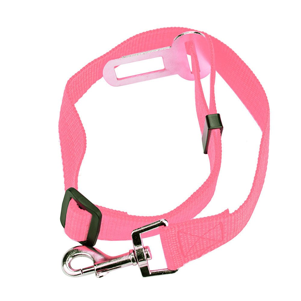 Voberry@ Dog Seatbelt, Adjustable Elastic Vehicle Car Pet Safety Belt Restraint, Seat Belts Tethers for Small, Medium and Large Dogs (Pink)