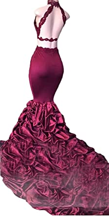 c91e04f19296 Fanciest Women's Halter Lace Prom Dresses Mermaid Evening Backless Gowns at Amazon  Women's Clothing store: