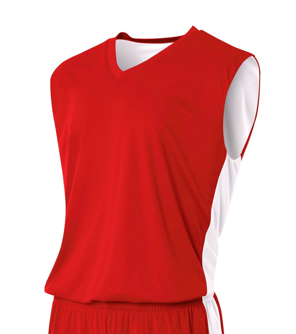 A4 Boy's Reversible Moisture Management Muscle Scarlet/White
