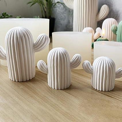 Molde de silicona con forma de cactus para vela y yeso