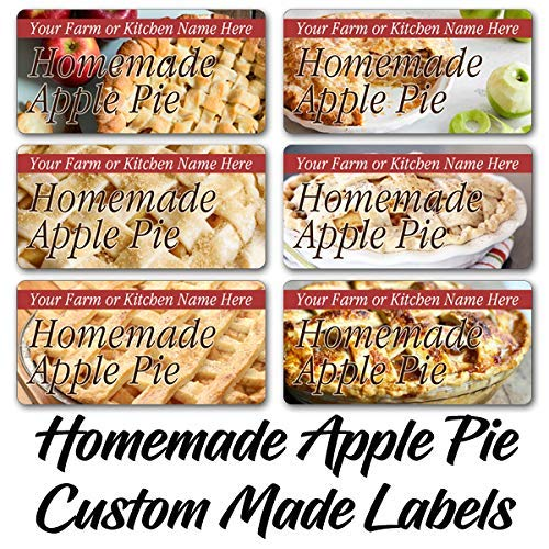 Homemade Apple Pie Rectangle Labels Customized Personalized Home Kitchen Farm Name Stickers (AP-01)