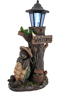 Merveilleux Zeckos Resin Outdoor Figurine Lights Turtle Won The Race Solar Led Welcome  Statue Lantern 10 X