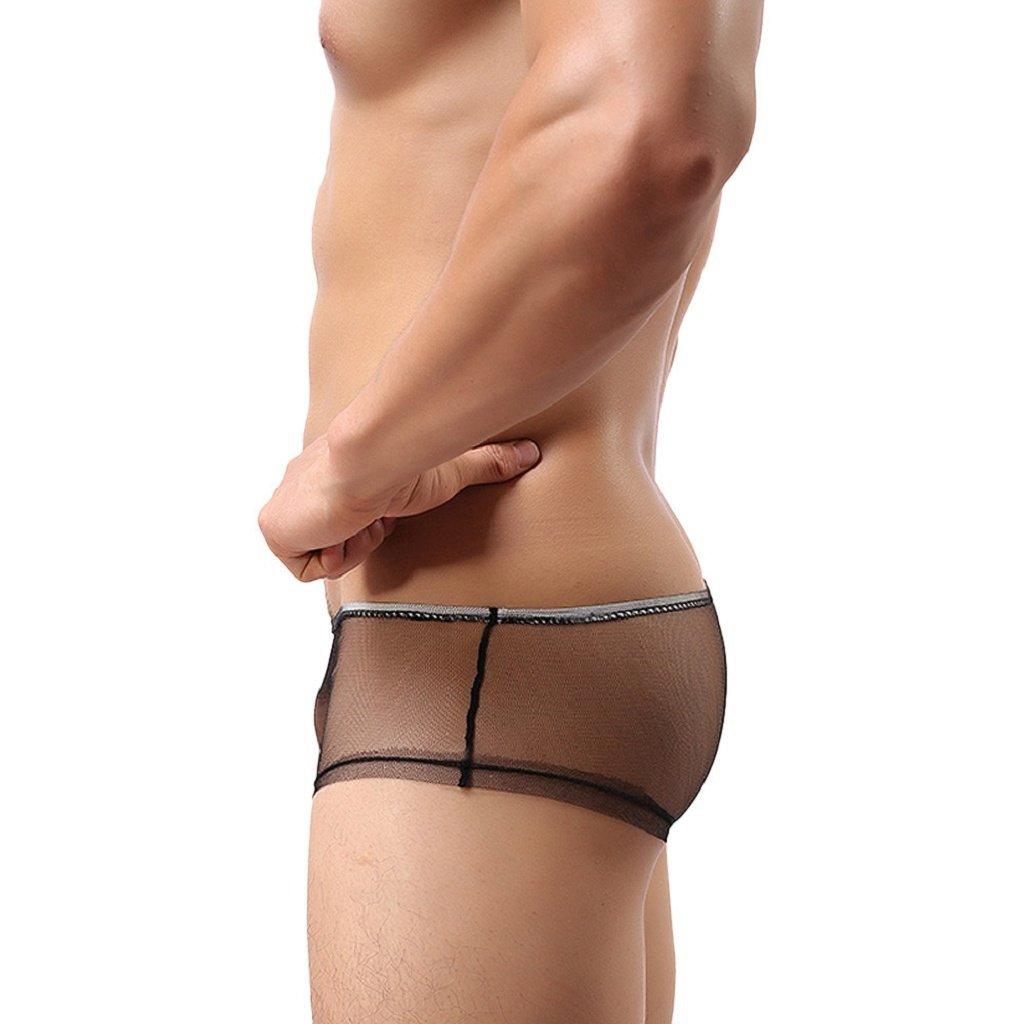 Susenstone 【Breathable Comfortable】Boyshort de malla de Gasa cómodos transparente ropa interior masculina ropa interior triángulo cortos escritos, ...