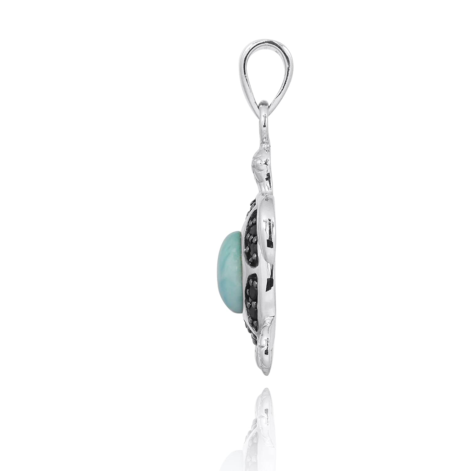 BTTS-NP11317-LAR-BKSP chain NOT included Sterling Silver Turtle Pendant with Larimar and Black Spinel