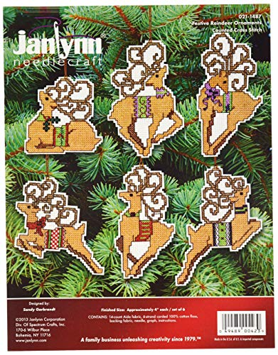 Janlynn 14 Count Festive Reindeer Ornaments Counted Cross Stitch Kit, 4-Inch, Set of 6