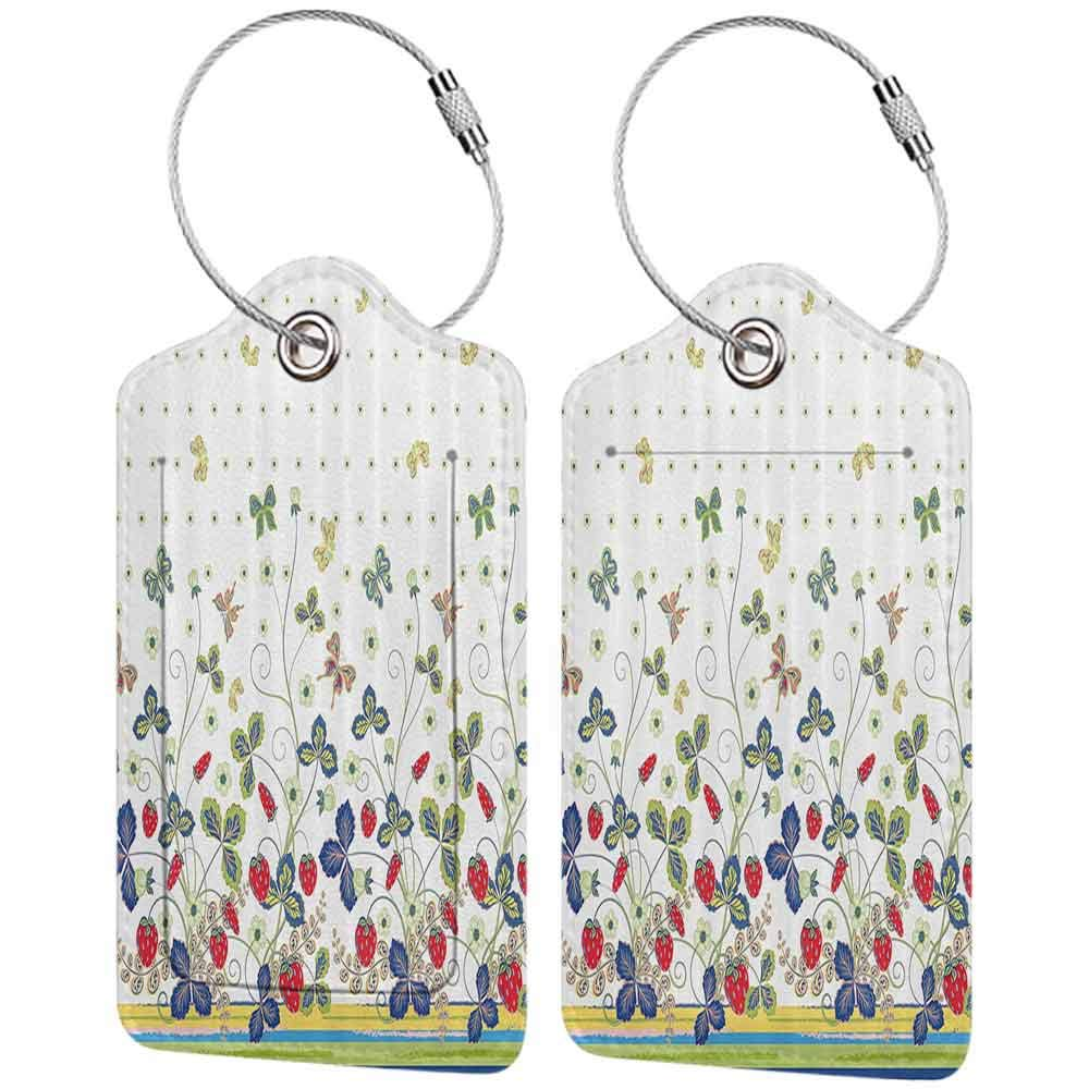 Durable luggage tag Floral Decor Flowers Ivy Swirls with Leaves Bows and Butterflies White Background with Dots Unisex Multicolor W2.7 x L4.6
