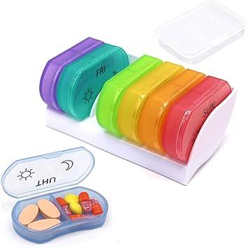 Pastillero Semanal 7 días Organizador de Pastillas Diario Grandes compartimentos BPA gratis caja de medicina para la medicación Vitaminas Suplementos de aceites de pescado (white base): Amazon.es: Salud y cuidado personal