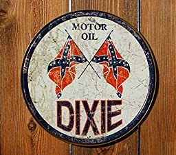 Dixie Gas - Weathered Round Metal Tin Sign
