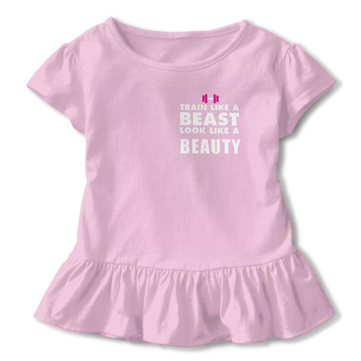 QUZtww Train Like A Beast Look Like A Beauty Cute Toddler Kids Girls Short Sleeves Shirts Ruffles for Daily Wear Party School