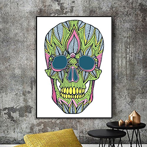 Guo Nuoen Technicolor Hallowmas Skull Canvas Print Poster Wall Stickers Home Decoration ()