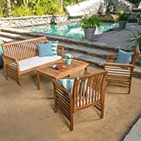 Overstock.com deals on Christopher Knight Home Desmond Outdoor 4pc Set w/Cushions