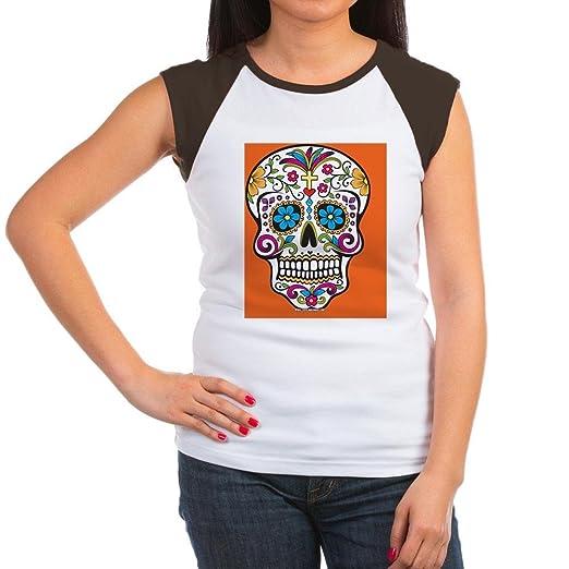 3bb58828aca Amazon.com  CafePress - Sugar Skull Halloween O Women s Cap Sleeve T-Shirt  - Women s Cap Sleeve T-Shirt Black White  Clothing