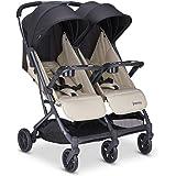 Joovy Kooper X2 Double Stroller, Lightweight Travel Stroller, Compact Fold with Tray, Sand