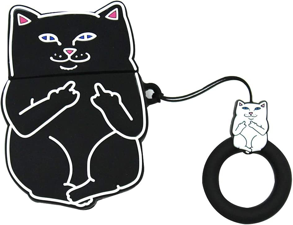 AirPods Case Full Protective Cover Silicone Fun 3D Cat Case for Apple Airpods 1 & 2 Charging Case