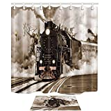 NYMB Locomotive Decor, Retro Steam Train Departs from the Station 69X70in Mildew Resistant Polyester Fabric Shower Curtain Suit With 15.7x23.6in Flannel Non-Slip Floor Doormat Bath Rugs