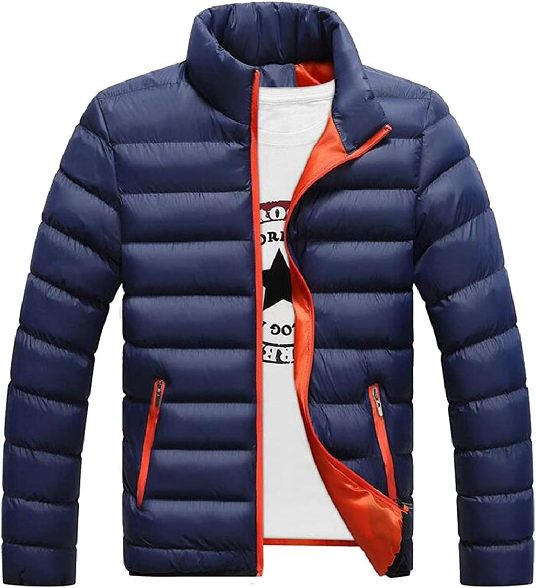 ONTBYB Mens Winter Casual Slim Thick Light Weight Stand Collar Packable Down Jacket