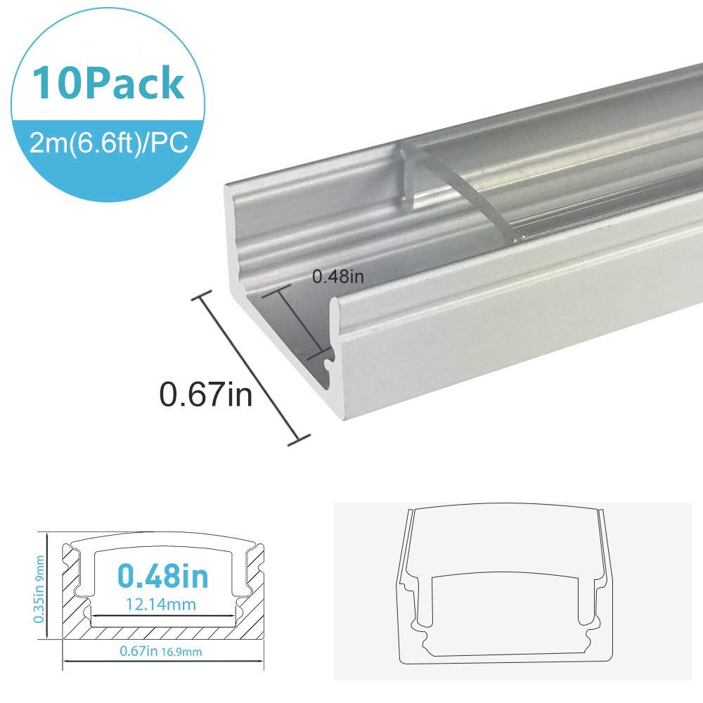 inShareplus 10 Pack 6.6FT/2M LED Aluminum Channel System Silver U-Shape LED Profile With Clear Transparent Cover End Caps and Mounting Clips for 3528 2835 5050 Double Row and Single LED Strip Light