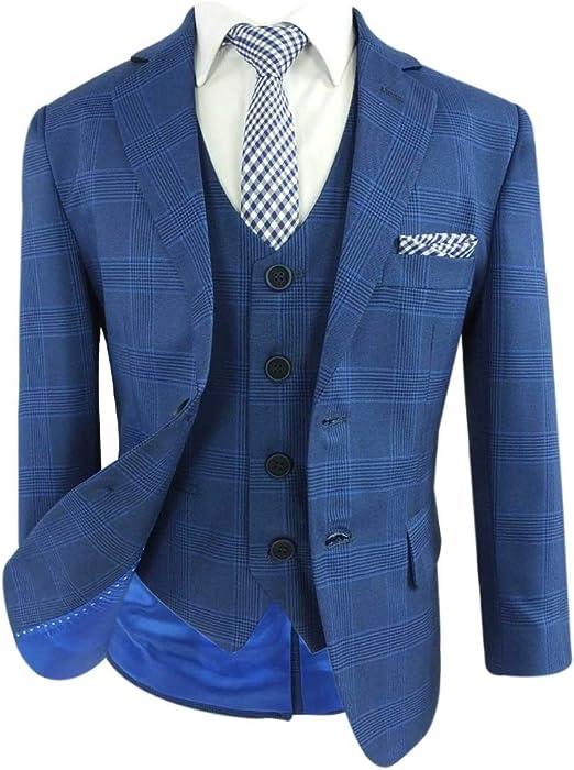 SIRRI Flamingo Design Slim Fit Formaler Hochzeit Jungen Anzug, Blau Karo