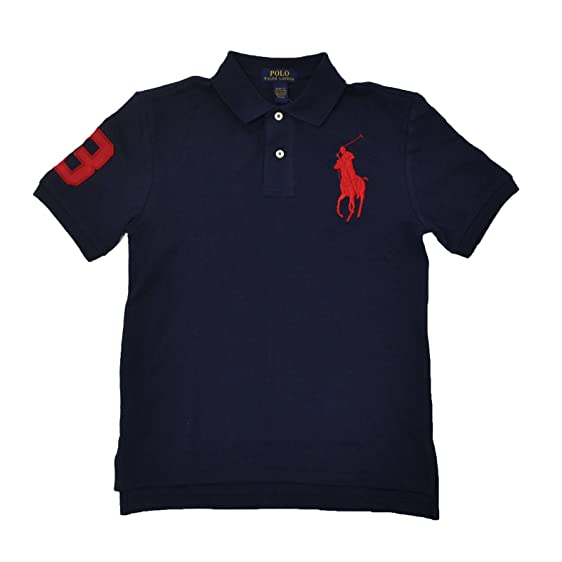 Polo Ralph Lauren Boys Big Pony Polo Shirt (French Navy Red Pony, Large /