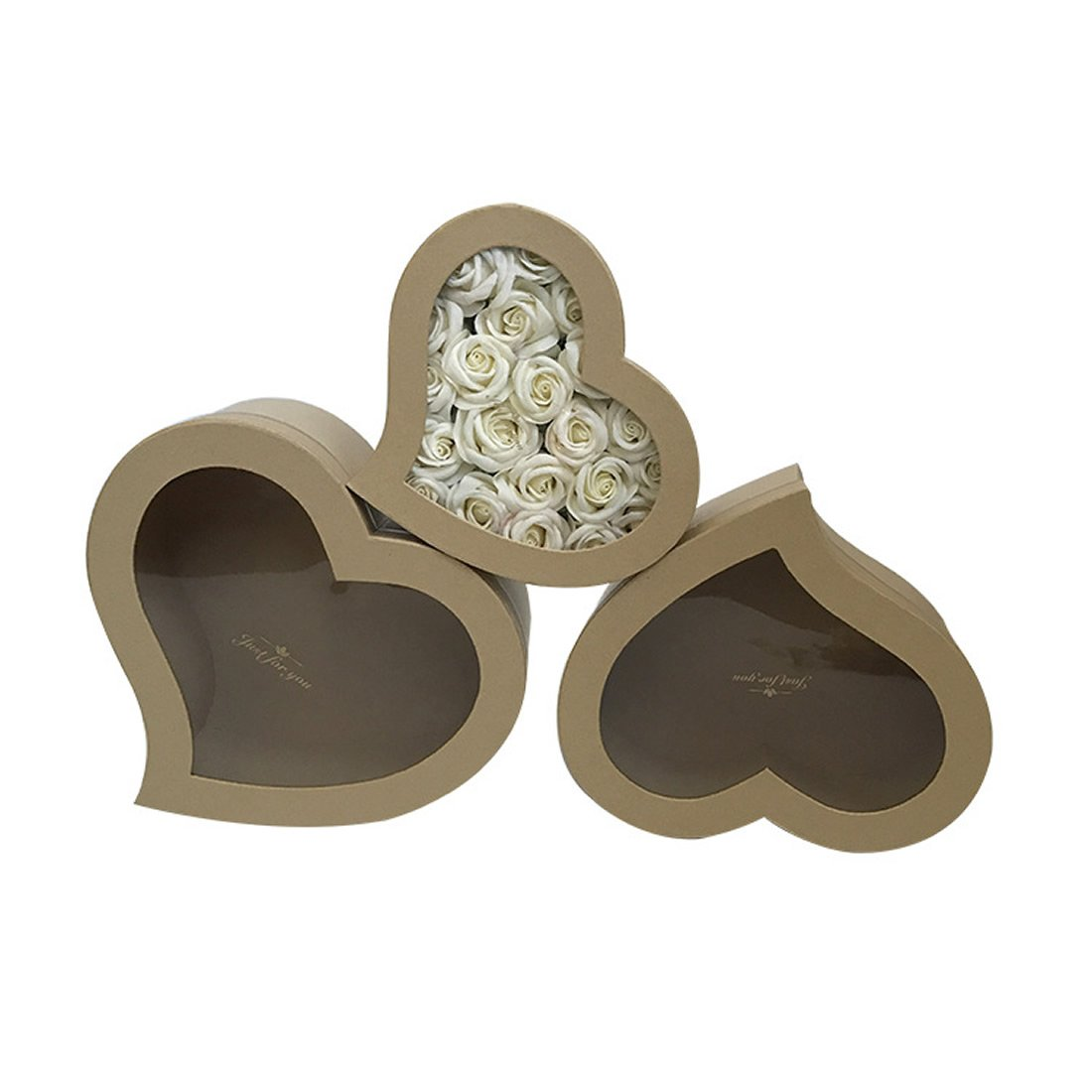 3pcs/Set Valentine's Day Gift Heart-Shape PVC Transparent Window flowrist Packing Flowers Gift Box,Weddiing Party Decoration Box (Kraft Paper Color)