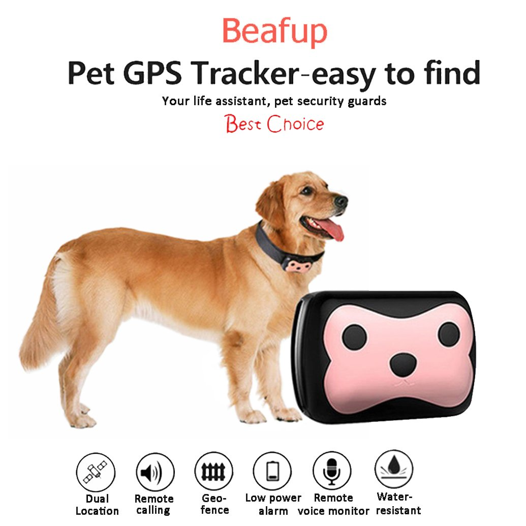 Beafup Pet GPS Collar Tracker, Real Time Locator & Activity Monitor Tracking Device for Dogs and Cats by Beafup
