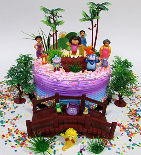 Dora the Explorer and Friends Birthday Cake Topper Set Featuring Figures and Decorative Themed Accessories for $<!--$29.99-->