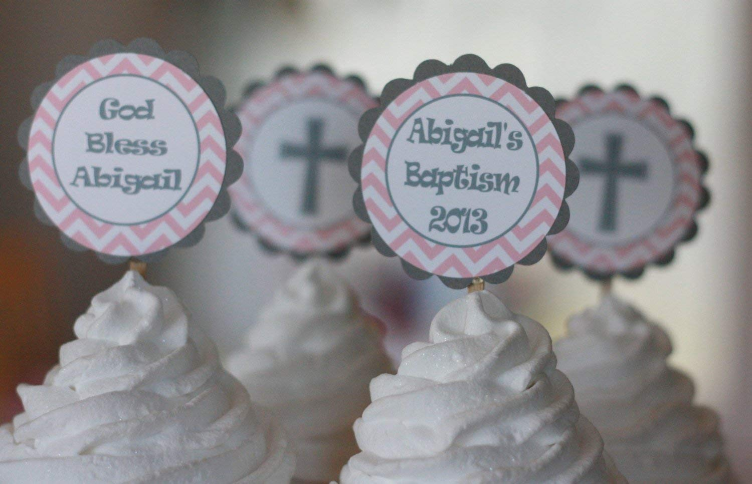 12 Baptism 1st Communion Christening Turquoise Blue /& Grey Chevron Cross Birthday Cupcake Toppers Door Signs Available Tags Party Packages Banners