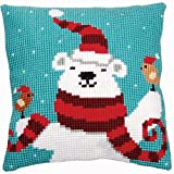 Heaven and Earth Designs Vervaco Funny Christmas Bear Pillow Cover Needlepoint Kit