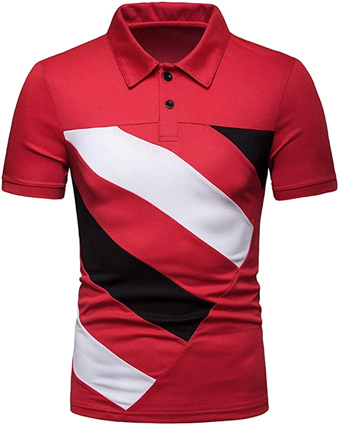 Solid Colored Patchwork Shirt Collar Red L Mens Slim Polo