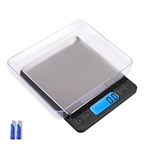 Digital Food Kitchen Scale Upgraded, YONCON 3000g/0.1g High Accuracy Multifunction Scale Measures in Grams and oz for Cooking, Baking, Jewelry, Tare Function,2 Trays, LCD Display (Batteries Included)