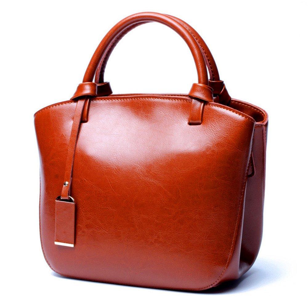Mn&Sue Classical Simple Style Genuine Leather Women Top Handle Satchel Bucket Handbag Retro Dome Shell Bag (coffee)