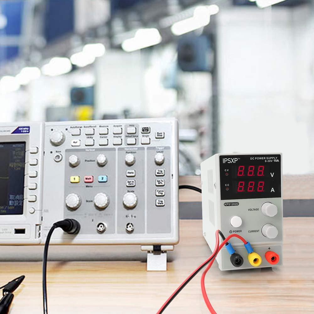 Variable DC Power Supply, IPSXP KPS1203D Adjustable Switching Regulated Power Supply Digital, 0-30 V 0-10 A with Alligator Leads US Power Cord by IPSXP (Image #6)