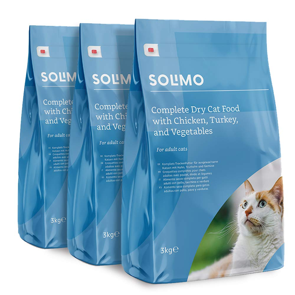 Marca Amazon - Solimo - Alimento seco completo para gatos adultos con pollo, pavo y verduras, 3 Packs de 3kg: Amazon.es: Productos para mascotas