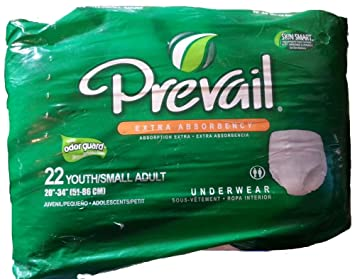 Prevail Extra Absorbency Underwear with Odor Guard, Youth/Small Adult, 22-Count