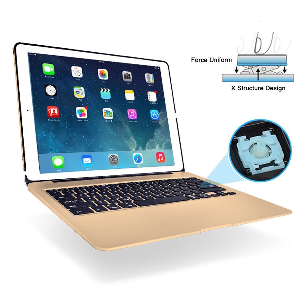 MOSTOP iPad Pro 12.9-inch Keyboard Bluetooth 7-color LED Backlit Slim Aluminum Wireless Keypad with Built-in 5600mAh Power Bank for iPad Pro 12.9'' (Gold) by MOSTOP (Image #5)