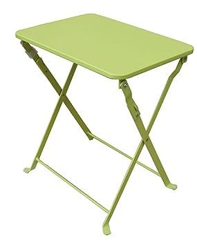 PEGANE Table d\'appoint de jardin pliante coloris vert anis ...