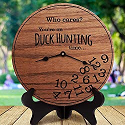 AndCo 12 Inch Wood Clock, Funny Duck Hunting Gifts Who Cares You're On Duck Hunting Time Gifts for Duck Hunters Clock Only Wall Clock