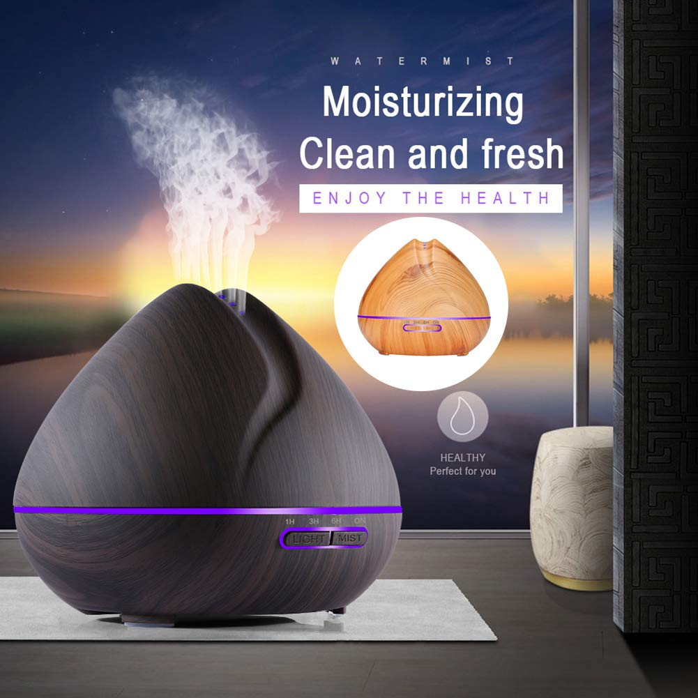 yanQxIzbiu Essential Oil Diffuser Fashion Wood Grain 7 Color LED Mute Humidifier Aroma Essential Oil Mist Diffuser - US Plug Light Wood Grain for Bedroom Living Room Study Yoga Spa