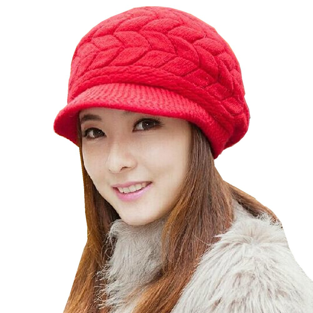 RUOYUCL Women's Winter Warm Knitted Hat Fleece Lined Snow Ski Caps With Visor RUO5272