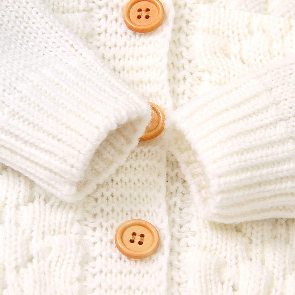 Voberry Cappotto in Maglia Invernale per Bambina Felpa con Cappuccio con Orecchie da Neonato Giacca con Cappuccio Calda Capispalla Maglione 3-24 Mesi