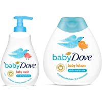 Baby Dove Rich Moisture Hair to Toe Baby Wash, 400 ml & Rich Moisture Nourishing Baby Lotion (200ml) Combo