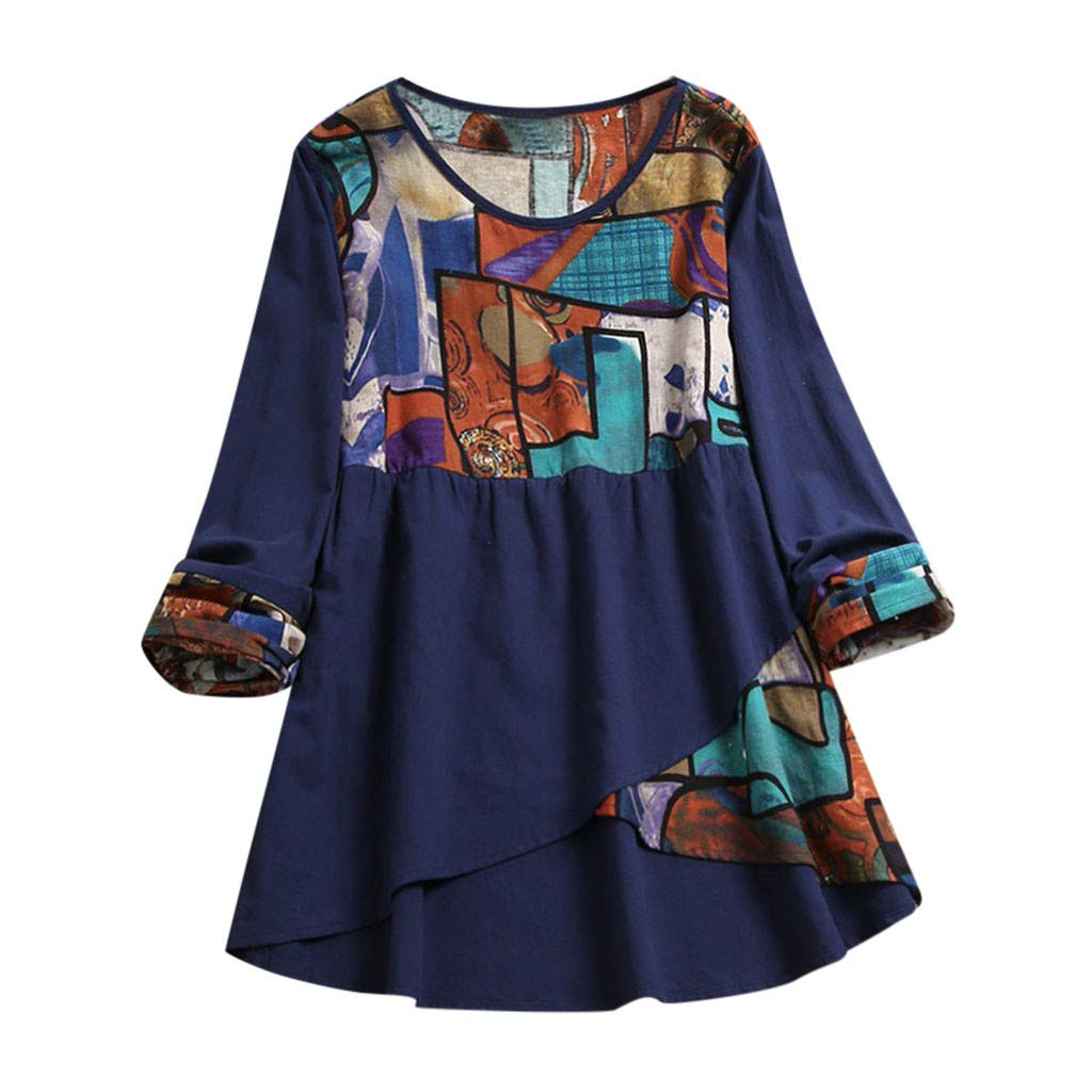 Willow S Women's Linen Printed Stitching top Dress Plus Size Casual Loose Button Long Sleeve Round Neck Irregular top Navy by Willow S