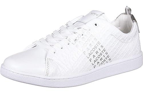 Zapatilla Lacoste Carnaby EVO Plateado Mujer 40 Blanco: Amazon.es: Zapatos y complementos