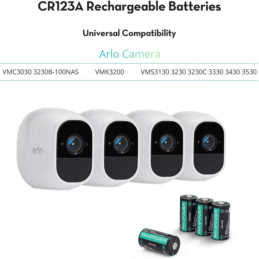 CR123A Rechargeable Batteries RAVPower Protected Batteries for Arlo Security Wireless Cameras VMC3030 VMK3200 VMS3330 3430 3530 and Flashlight Polaroid Microphone 8 Pack 3.7V 700mAh