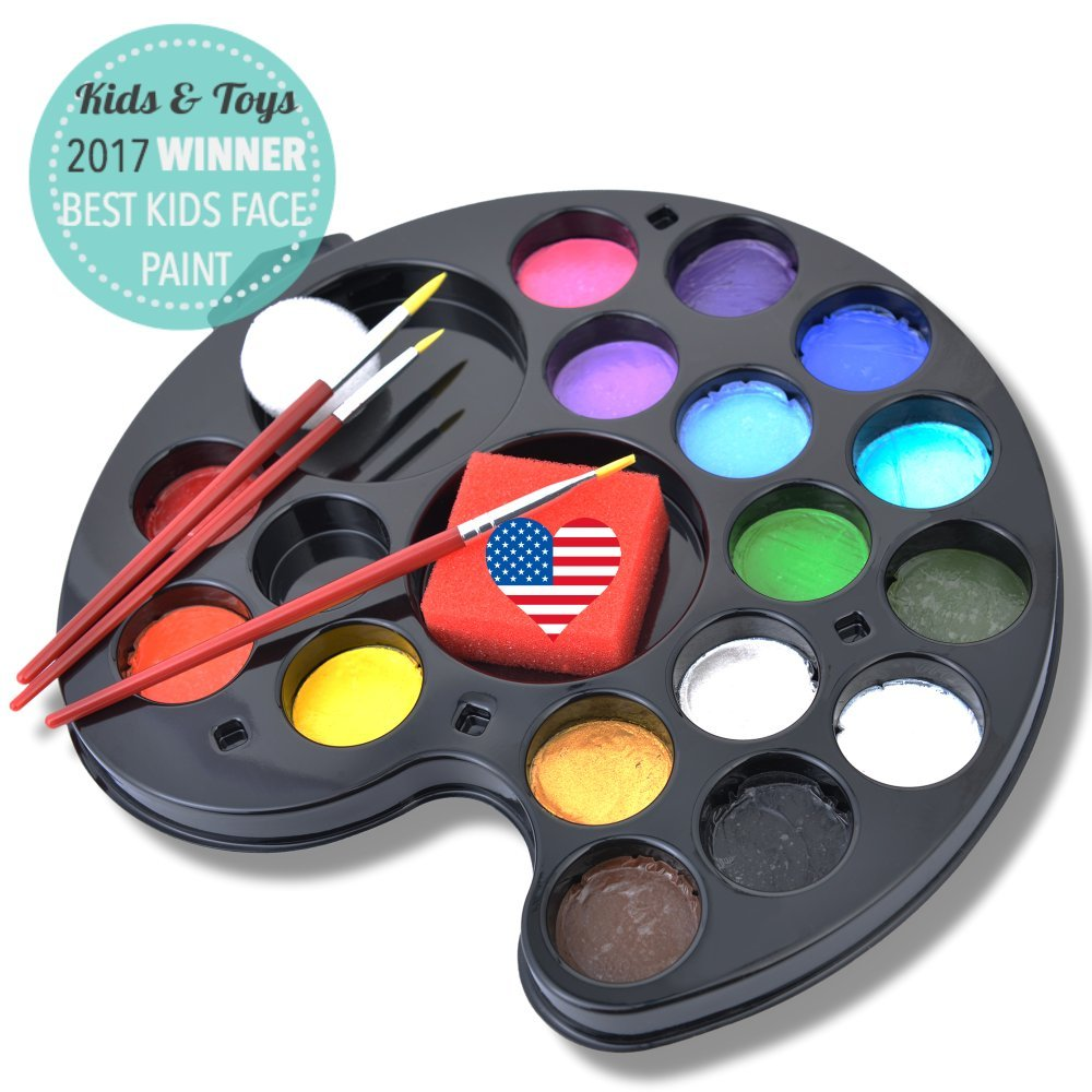 Amazon 160 faces face painting kit 16 washable non toxic amazon 160 faces face painting kit 16 washable non toxic color vegan body paint palette set by ava and frank 3 brushes 2 sponges ebook for kids ages fandeluxe Ebook collections