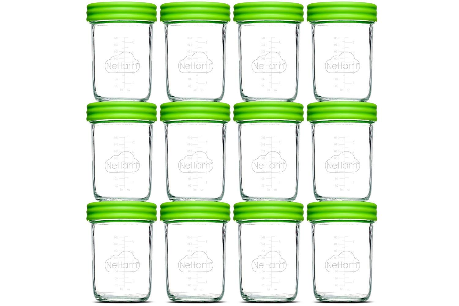 Nellam Baby Food Storage Containers - Leakproof, Airtight, Glass Jars for Freezing & Homemade Babyfood Prep - Reusable, BPA Free, 12 x 8oz Set, that is Microwave & Freezer Safe