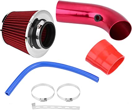 Red Acouto 76mm 3Inch Universal Car Cold Air Intake Hose Filter System with Air Intake Aluminum Pipe,Mounting Bracket,Tube Horse,Lock Rings